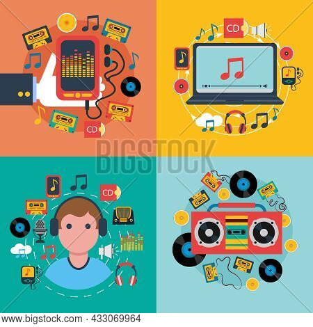 Tablet Mobile Music Apps Concept 4 Flat Icons Composition With Cd Cassette Player Abstract Isolated