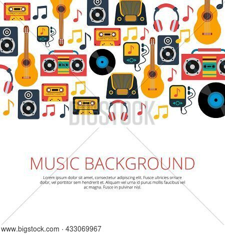 Old Retro Music Vinyl Records Cd Cassette Players And Notes Symbols Seamless Background Banner Abstr