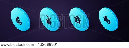 Set Isometric Eco Friendly House, , And Recycle Clean Aqua Icon. Vector
