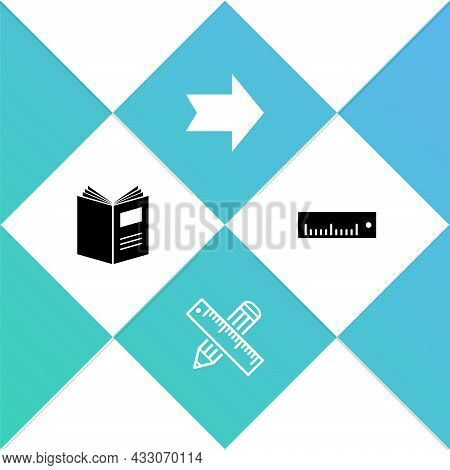 Set Open Book, Crossed Ruler And Pencil, Arrow And Ruler Icon. Vector