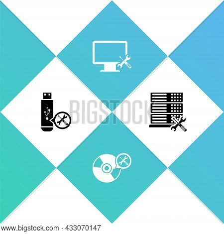 Set Usb Flash Drive Service, Cd Or Dvd Disk, Computer Monitor And Database Server Icon. Vector