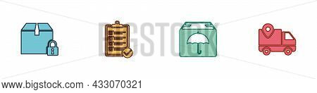 Set Locked Package, Verification Of Delivery List, Delivery With Umbrella And Tracking Icon. Vector