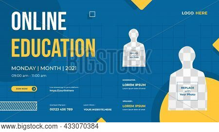 Website Banner Template With Blue And Yellow Background For Online Education, Online Class Programs,