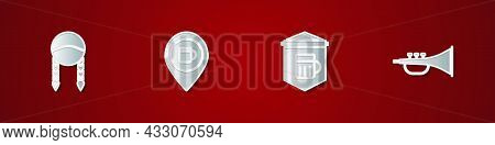 Set Braid, Alcohol Or Beer Bar Location, Signboard With Glass Of And Musical Instrument Trumpet Icon