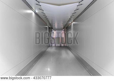 Refrigerated Semi-trailer Inside. Empty Cargo Area Of Refrigerated Trailer. Interior Of The New Semi