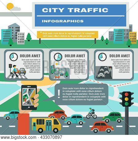 City Traffic Infographics Set With Cars Gps Map Symbols Vector Illustration