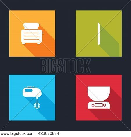 Set Toaster With Toasts, Knife, Electric Mixer And Electronic Scales Icon. Vector
