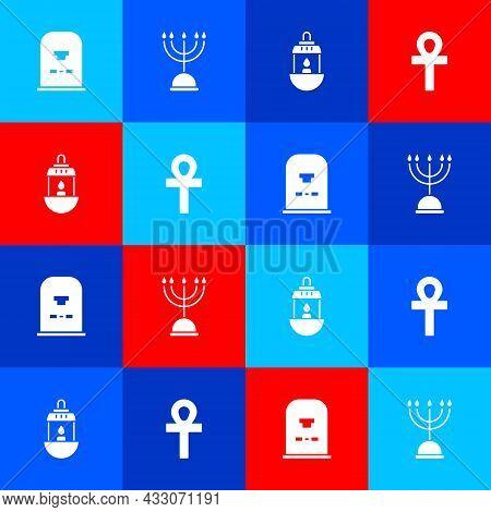 Set Tombstone With Rip Written, Hanukkah Menorah, Ramadan Kareem Lantern And Cross Ankh Icon. Vector