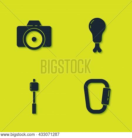 Set Photo Camera, Carabiner, Marshmallow On Stick And Chicken Leg Icon. Vector