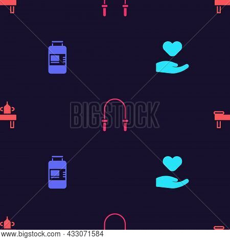 Set Heart In Hand, Collagen Serum, Jump Rope And Massage Table With Oil On Seamless Pattern. Vector