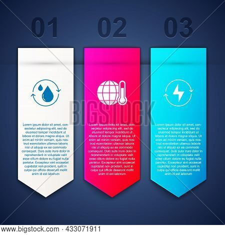 Set Recycle Clean Aqua, Global Warming And Lightning Bolt. Business Infographic Template. Vector