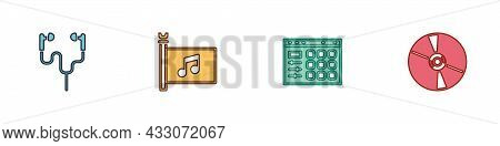 Set Air Headphones, Music Festival Flag, Drum Machine And Cd Or Dvd Disk Icon. Vector