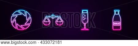 Set Line Camera Shutter, Scales Of Justice, Glass Champagne And Bottle Milk And Cap. Glowing Neon Ic