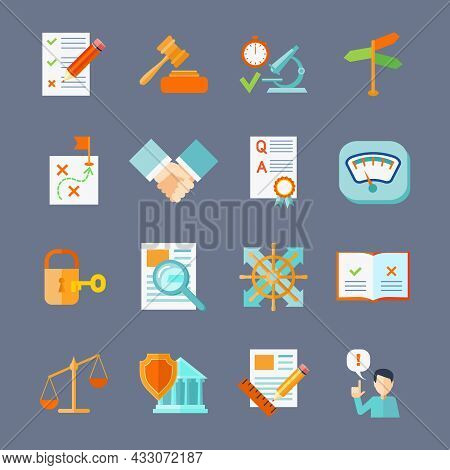 Legal Compliance Deal Protection And Copyright Regulation Flat Icons Set Isolated Vector Illustratio