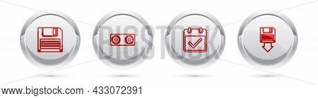 Set Line Floppy Disk, Stereo Speaker, Calendar With Check Mark And Backup. Silver Circle Button. Vec