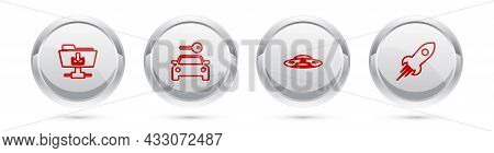 Set Line Ftp Folder Download, Car Rental, Ufo Flying Spaceship And Rocket With Fire. Silver Circle B