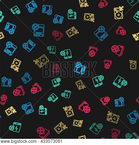 Set Line Oven Service, Power Bank, Hard Disk Drive And Toaster On Seamless Pattern. Vector