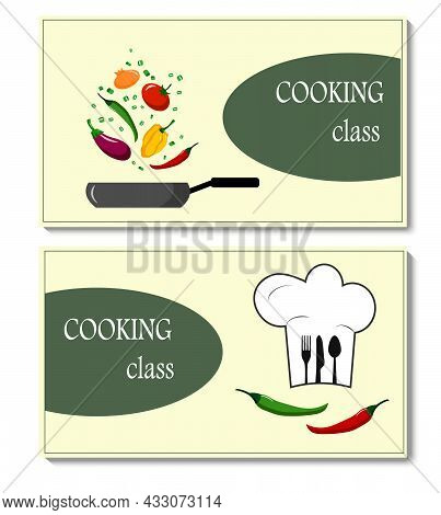 Cooking Class Flyer Template. Set With A Chefs Cap, Frying Pan And Vegetables. Vector Illustration W