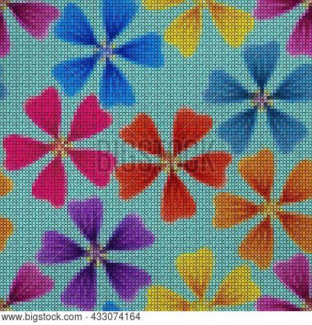 Illustration. Cross-stitch, Embroidery. Lavatera, Mallow, Malva Flowers. Texture Of Flowers. Seamles