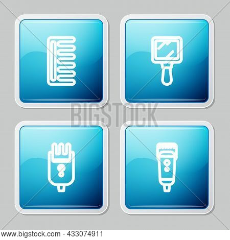 Set Line Hairbrush, Hand Mirror, Electrical Hair Clipper Shaver And Icon. Vector