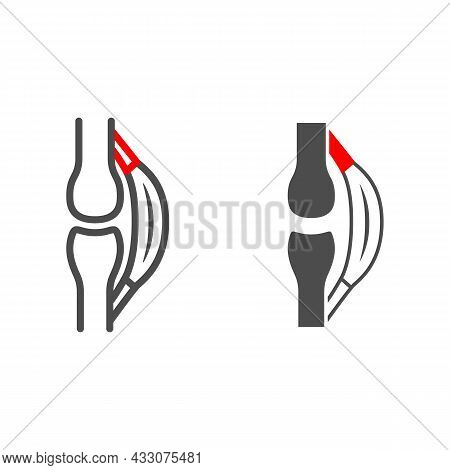 Stretched Tendon Line And Solid Icon, Body Pain Concept, Strain Vector Sign On White Background, Out