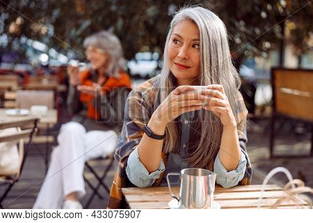 Senior Cafe Guests, Focus On Dreamful Long Haired Mature Lady Holding Cup Of Drink At Table