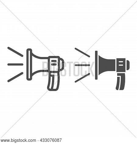 Loudspeaker, Sound Lines, Loud Speaker Line And Solid Icon, Acoustic Concept, Megaphone Vector Sign