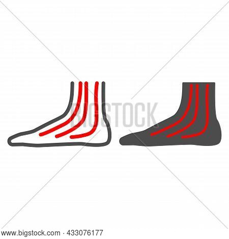 Ankle Pain Line And Solid Icon, Body Pain Concept, Ankle Hurts Ache Vector Sign On White Background,