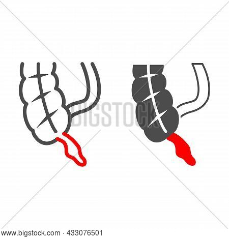 Appendix Is Inflamed Line And Solid Icon, Body Pain Concept, Acute Appendicitis Vector Sign On White