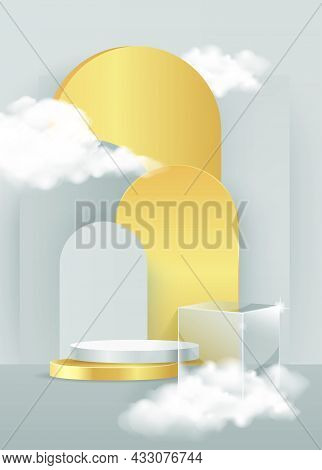 Minimal Scene With Gold Podium And Cloud Abstract Gold Background Scene Studio Or Pedestal For Displ