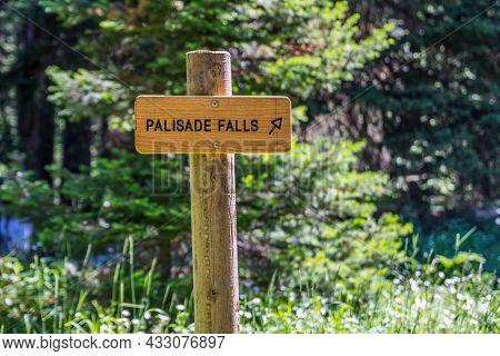 Palisade Falls, Mt, Usa - July 26, 2020: The Palisade Falls