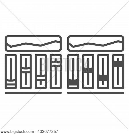Equalizer, Sound Levels Line And Solid Icon, Sound Design Concept, Audio Control Panel Vector Sign O