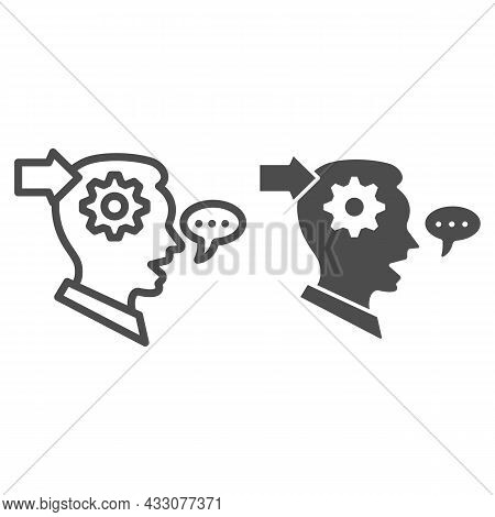 Man With Gear In Head, Arrow, Speech Bubble Line And Solid Icon, Thought Concept, Interpreter Vector