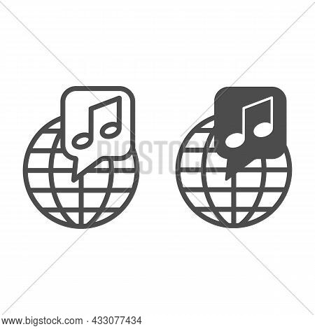 Globe With Note, Music Worldwide Line And Solid Icon, Music Concept, International Music Vector Sign