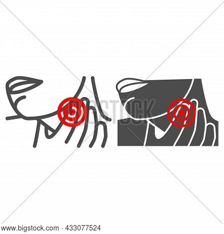 Woman Throat Hurts Line And Solid Icon, Body Pain Concept, Throat Pain Vector Sign On White Backgrou