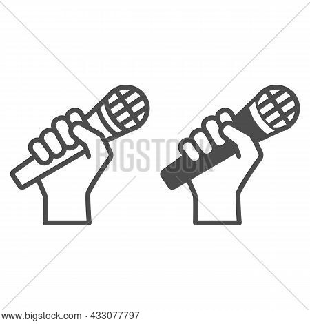 Microphone In Hand Line And Solid Icon, Sound Design Concept, Hand Holding Mic Vector Sign On White
