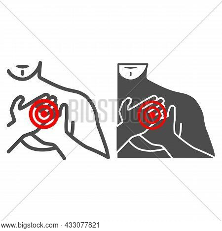 Chest Pain In The Region Of Heart Line And Solid Icon, Body Pain Concept, Heart Attack Vector Sign O