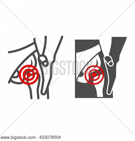Femoral Neck Fracture Line And Solid Icon, Body Pain Concept, Groin Ache Vector Sign On White Backgr