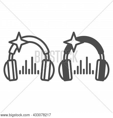 Headphones With Star And Music Sound Wave Line And Solid Icon, Sound Design Concept, Headset Vector