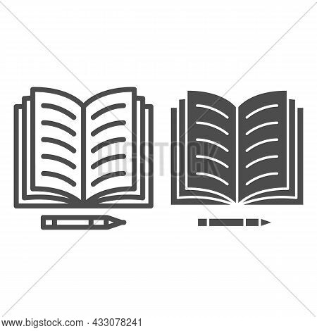 Notes In Open Notebook And Pencil Line And Solid Icon, Education Concept, Copy Book And Pen Vector S