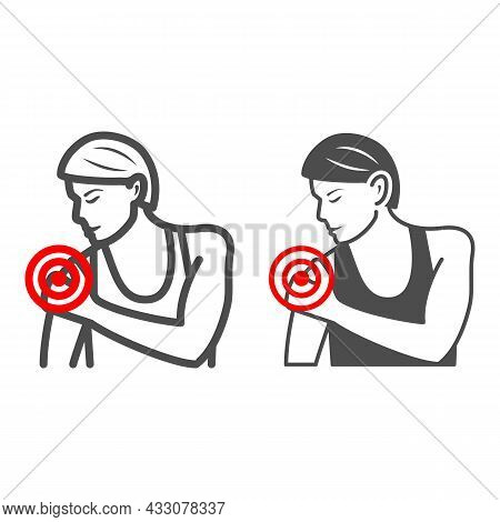 Woman Shoulder Hurts Line And Solid Icon, Body Pain Concept, Shoulder Pain Vector Sign On White Back