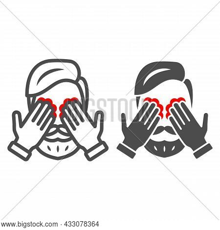 Man Eyes Hurt And Itch Line And Solid Icon, Body Pain Concept, Person Has Eye Problems Vector Sign O