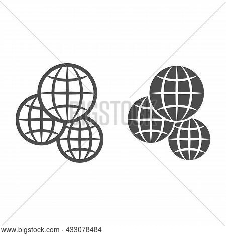Three Globes, Multicultural, Worldwide Line And Solid Icon, International Concept, Exchange Vector S