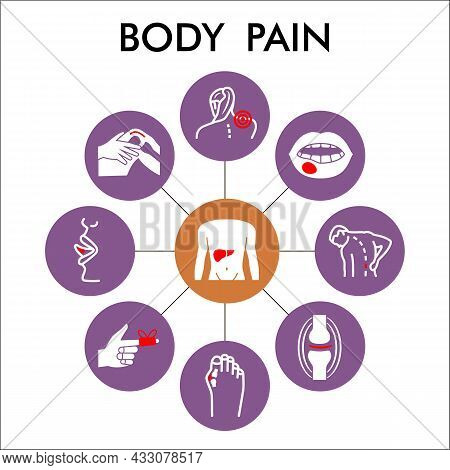 Modern Body Pain Infographic Design Template. Human Diseases Inphographic Visualization With Nine St
