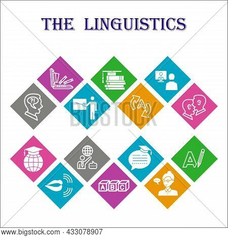 Modern Linguistics Infographic Design Template. Education Inphographic Visualization With Fourteen S