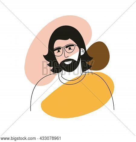 Abstract Line Drawing Aesthetic Portrait Hipster Man With Stylish Long Hairstyle. Minimalist Concept