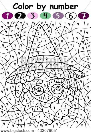 Happy Halloween Color By Number With Wizard Vector Illustration. Sorcerer With A Beard And Witch Hat
