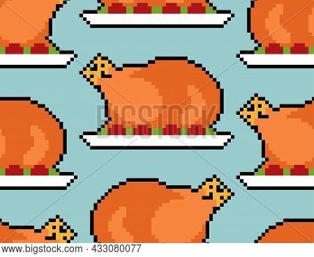 Roasted Turkey Pixel Art Pattern Seamless. Pixelated Roast Background. 8 Bit Vector Texture