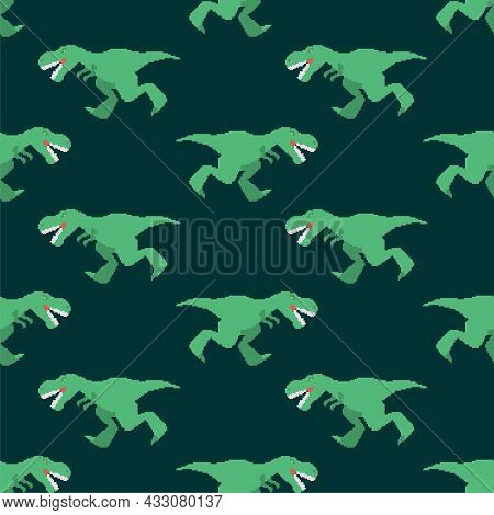 Dinosaur Tyrannosaurus Rex Pixel Art Pattern Seamless. Pixelated T-rex Is Predator Lizard Background
