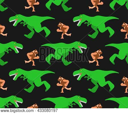 Dinosaur And Prehistoric Man Pattern Seamless. T-rex And Ancient Man Background